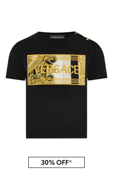 Versace Baby Boys Black Cotton T-Shirt