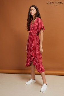 Great Plains Red Dana Dot Viscose Wrap Dress
