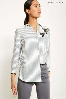 Mint Velvet Embellished Bird Stripe Shirt