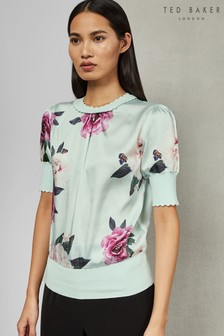 Ted Baker Blue Leesai Magnificent Woven Front Knit
