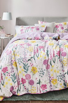 Cotton Sateen Bright Floral Duvet Cover And Pillowcase Set