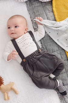 Slogan Dungarees And Bodysuit Set (0mths-2yrs)