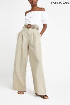 River Island Beige Linen Belted Wide Leg Trouser