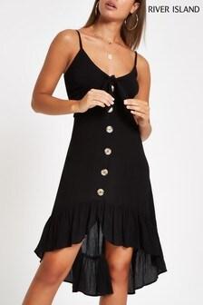 River Island Black Button Through Midi Dress