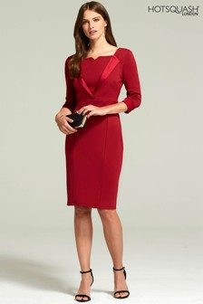 HotSquash Red Tuxedo Ponte Dress