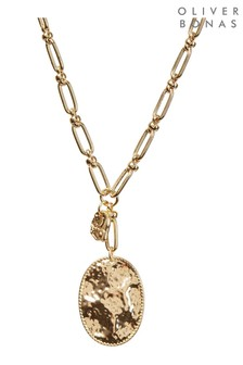 Oliver Bonas Dinara Hammered Oval Charm Pendant Necklace