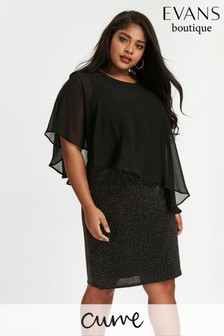 Evans Black Sparkle Overlay Dress