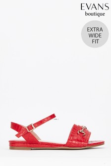 Evans Red Extra Wide Fit Red Sandals