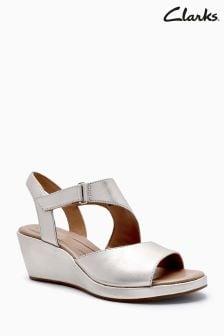 Chaussures Clarks Unplaza métallisées à semelle compensée et bride arrière
