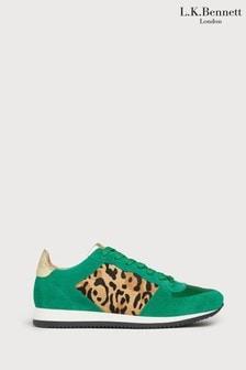L.K.Bennett Green Leopard Ricky Sporty Trainers
