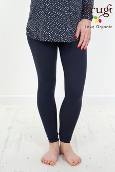 Frugi Organic Navy Roll Top Maternity Yoga Leggings