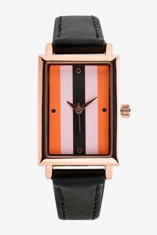 Rectangle Case Stripe Watch
