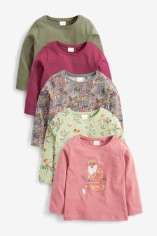 Набор из 5 футболок с длинными рукавами (с лисой/др.) (3 мес.-7 лет)