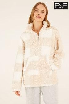 F&F Cream Neutral Check Zip Pyjamas