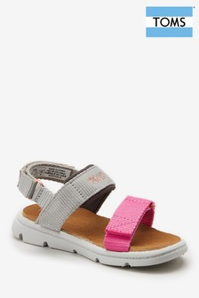 Toms Pink and Grey Velcro Sandal