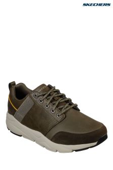 Skechers® Green Leather Lace-Up