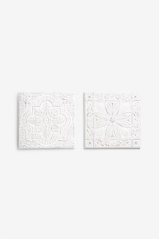 Set of 2 Wood Effect Tiles Art