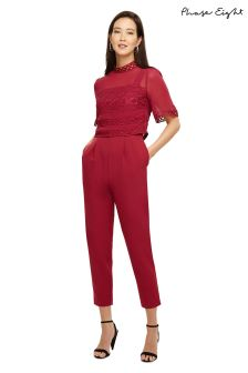 Phase Eight Bright Lipstick Ilia Lace Bodice Jumpsuit