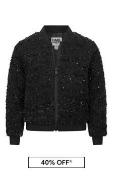 Girls Black Branded Bomber Jacket