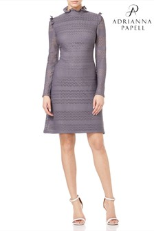 Adrianna Papell Metallic Knit Lace A-Line Dress