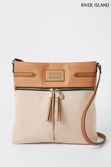 River Island Beige Dark Zip Front Messenger Bag