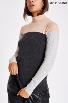 River Island Grey High Neck Jumper
