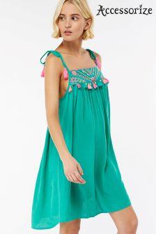 Accessorize Green Aztec Embroidered Midi Dress