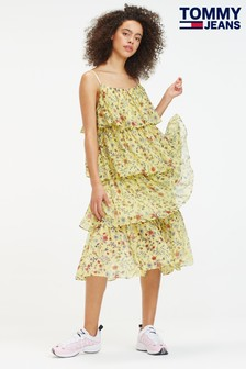 Tommy Jeans Floral Festival Tiered Midi Dress
