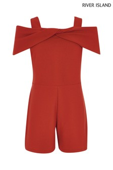River Island Red Scuba Playsuit