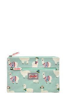 Cath Kidston® Green Mini Alpacas Kids Double Zip Pencil Case