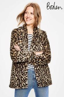 Boden Brown Boxgrove Faux Fur Coat