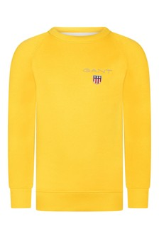 Boys Yellow Cotton Shield Logo Sweater