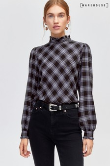 Warehouse Multi Check High Neck Top