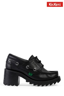 Kickers® Black Klio Ghillie Leather Heeled Shoes