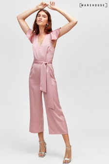 Warehouse Pink Frill Sleeve Twist Back Jumpsuit