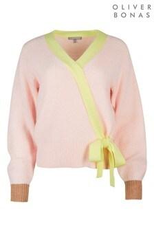Oliver Bonas Pink Wrap Colourblock Jumper