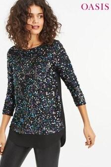 Oasis Black Sequin Tinsel Top