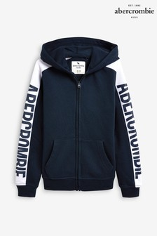 Abercrombie & Fitch Navy Logo Zip Through Hoody
