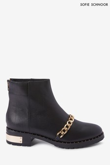 Sofie Schnoor Black Leather Chain Biker Boots