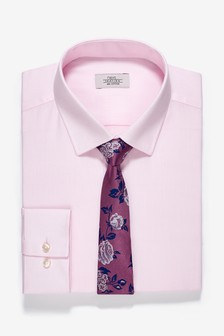 Slim Fit Shirt And Floral Tie Set