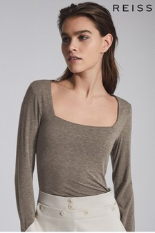 Reiss Camel Bea Square Neck Jersey Top