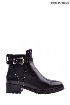 Sofie Schnoor Black Leather Stud Biker Boots