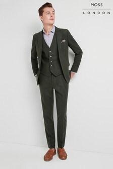 Moss London Skinny Fit Khaki Donegal Trouser