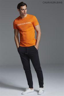 Calvin Klein Jeans Mens Black Monogram Logo Sweat Pant
