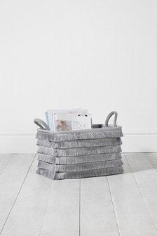 Grey Tassel Basket