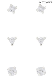Accessorize White Sterling Silver Crystal Shape Stud Set