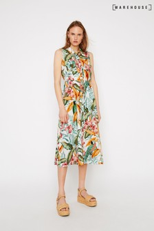 Warehouse Parrot Midi Shirt Dress