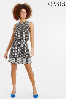 Oasis Natural Polka Dot Skater Dress