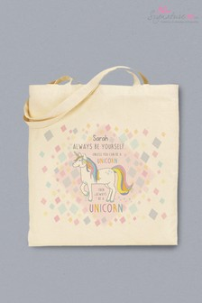 Personalised Back To School Unicorn Tote Bag by Signature PG