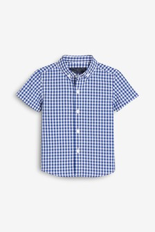 Рубашка из поплина в клетку с короткими рукавами (3 мес.-7 лет)